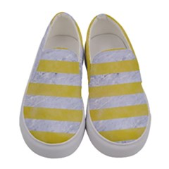 Stripes2white Marble & Yellow Watercolor Women s Canvas Slip Ons