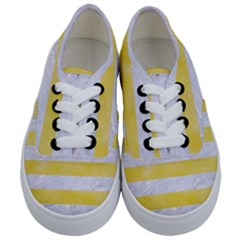 Stripes2white Marble & Yellow Watercolor Kids  Classic Low Top Sneakers