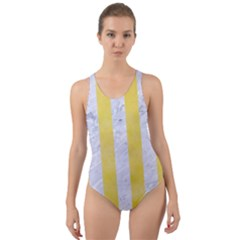 Stripes1 White Marble & Yellow Watercolor Cut Out Back One Piece Swimsuit