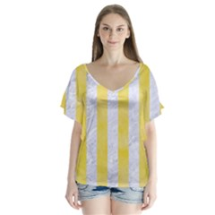 Stripes1 White Marble & Yellow Watercolor V Neck Flutter Sleeve Top