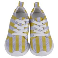Stripes1 White Marble & Yellow Watercolor Kids  Lightweight Sports Shoes