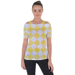 Square2 White Marble & Yellow Watercolor Short Sleeve Top