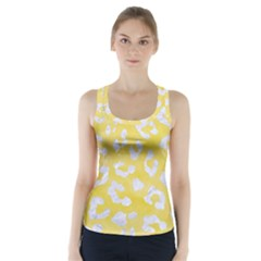 Skin5 White Marble & Yellow Watercolor (r) Racer Back Sports Top