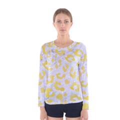 Skin5 White Marble & Yellow Watercolor Women s Long Sleeve Tee