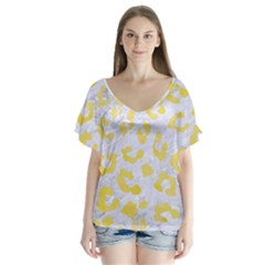 Skin5 White Marble & Yellow Watercolor V Neck Flutter Sleeve Top