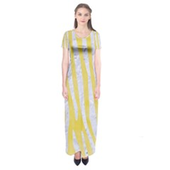 Skin4 White Marble & Yellow Watercolor (r) Short Sleeve Maxi Dress