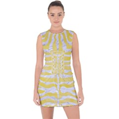 Skin2 White Marble & Yellow Watercolor Lace Up Front Bodycon Dress