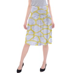 Skin1 White Marble & Yellow Watercolor Midi Beach Skirt