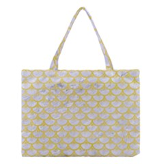 Scales3 White Marble & Yellow Watercolor (r) Medium Tote Bag