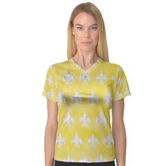 Royal1 White Marble & Yellow Watercolor (r) V Neck Sport Mesh Tee