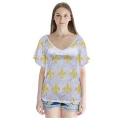 Royal1 White Marble & Yellow Watercolor V Neck Flutter Sleeve Top