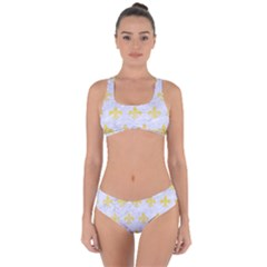 Royal1 White Marble & Yellow Watercolor Criss Cross Bikini Set