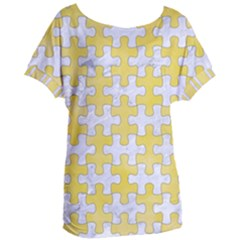 Puzzle1 White Marble & Yellow Watercolor Women s Oversized Tee