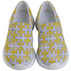 Puzzle1 White Marble & Yellow Watercolor Kid s Lightweight Slip Ons