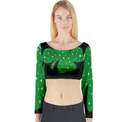 Sparkly Clover Long Sleeve Crop Top