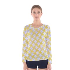 Houndstooth2 White Marble & Yellow Watercolor Women s Long Sleeve Tee