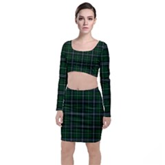 Green Plaid Pattern Long Sleeve Crop Top & Bodycon Skirt Set