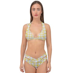 Houndstooth1 White Marble & Yellow Watercolor Double Strap Halter Bikini Set