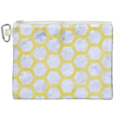 Hexagon2 White Marble & Yellow Watercolor (r) Canvas Cosmetic Bag (xxl)