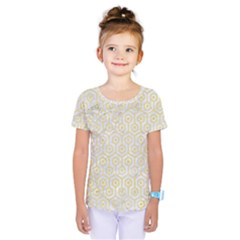 Hexagon1 White Marble & Yellow Watercolor (r) Kids  One Piece Tee