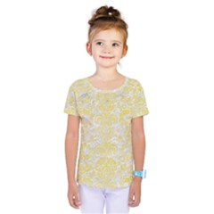 Damask2 White Marble & Yellow Watercolor (r) Kids  One Piece Tee