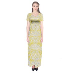 Damask2 White Marble & Yellow Watercolor Short Sleeve Maxi Dress