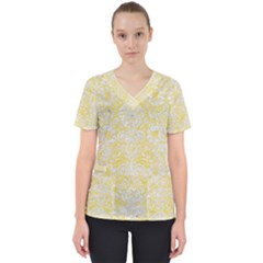 Damask2 White Marble & Yellow Watercolor Scrub Top