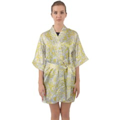 Damask2 White Marble & Yellow Watercolor Quarter Sleeve Kimono Robe