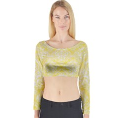 Damask1 White Marble & Yellow Watercolor Long Sleeve Crop Top