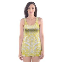Damask1 White Marble & Yellow Watercolor Skater Dress Swimsuit