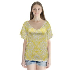 Damask1 White Marble & Yellow Watercolor V Neck Flutter Sleeve Top