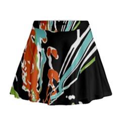 Multicolor Abstract Design Mini Flare Skirt