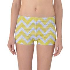 Chevron9 White Marble & Yellow Watercolor Reversible Boyleg Bikini Bottoms