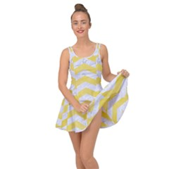 Chevron3 White Marble & Yellow Watercolor Inside Out Dress
