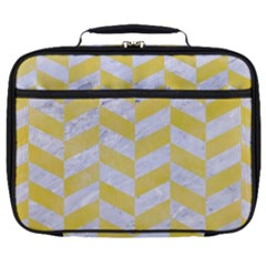 Chevron1 White Marble & Yellow Watercolor Full Print Lunch Bag