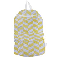 Chevron1 White Marble & Yellow Watercolor Foldable Lightweight Backpack