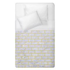 Brick1 White Marble & Yellow Watercolor (r) Duvet Cover (single Size)