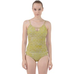 Brick1 White Marble & Yellow Watercolor Cut Out Top Tankini Set