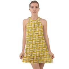 Woven1 White Marble & Yellow Marble Halter Tie Back Chiffon Dress
