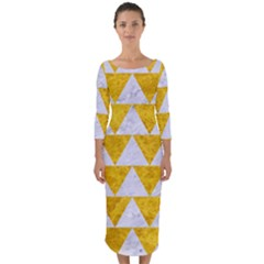 Triangle2 White Marble & Yellow Marble Quarter Sleeve Midi Bodycon Dress