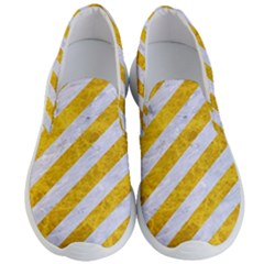 Stripes3 White Marble & Yellow Marble (r) Men s Lightweight Slip Ons