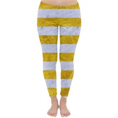 Stripes2white Marble & Yellow Marble Classic Winter Leggings
