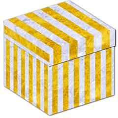 Stripes1 White Marble & Yellow Marble Storage Stool 12