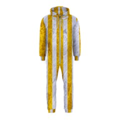 Stripes1 White Marble & Yellow Marble Hooded Jumpsuit (kids)