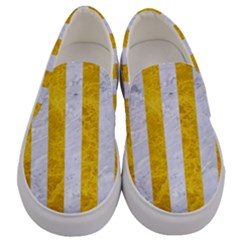 Stripes1 White Marble & Yellow Marble Men s Canvas Slip Ons