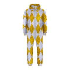Square2 White Marble & Yellow Marble Hooded Jumpsuit (kids)