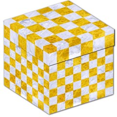 Square1 White Marble & Yellow Marble Storage Stool 12