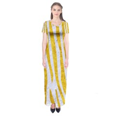 Skin4 White Marble & Yellow Marble Short Sleeve Maxi Dress