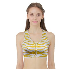 Skin2 White Marble & Yellow Marble (r) Sports Bra With Border