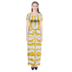 Skin2 White Marble & Yellow Marble (r) Short Sleeve Maxi Dress